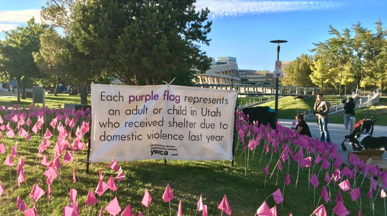 Purple Flags Representing Utahns seeking shelter from domestic violence