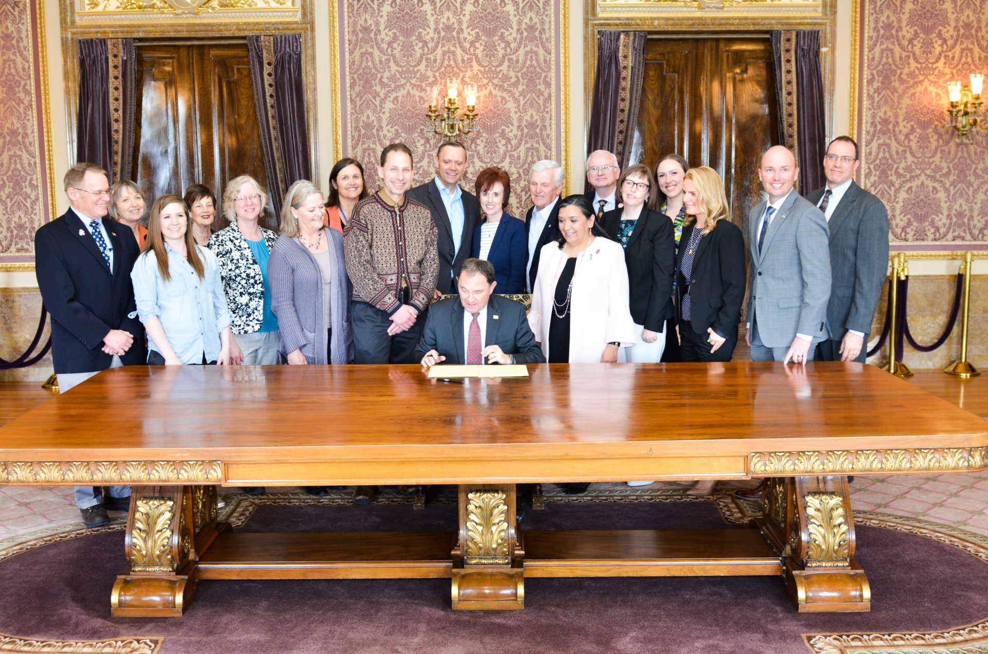 Governor Herbert signing SCR 11 Concurrent Resolution on Awareness and Treatment of Maternal Depression and Anxiety